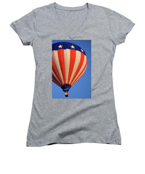 Usa Patriotic Hot Air Balloon Women's V-Neck
