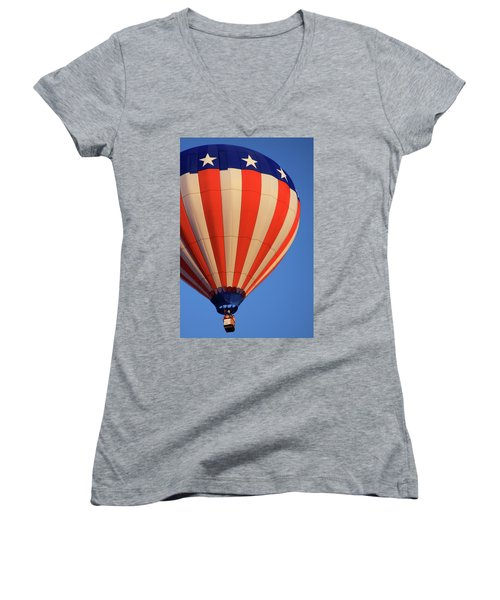Usa Patriotic Hot Air Balloon Women's V-Neck