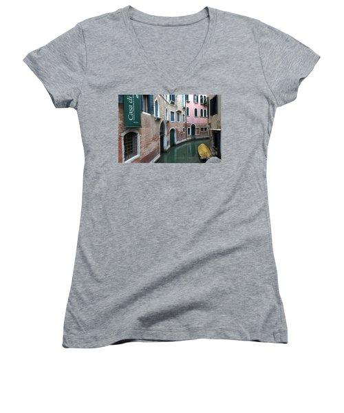 Venetian Streets -canals. Carlo Galdoni Museum Women's V-Neck