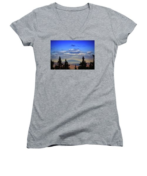 Women's V-Neck (Athletic Fit) featuring the photograph Vermont From Mount Greylock Summit by Raymond Salani III