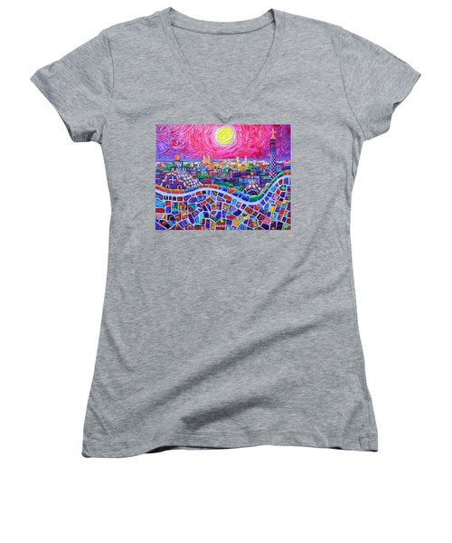 Vibrant Barcelona Night View From Park Guell Modern Impressionism Knife Painting Ana Maria Edulescu Women's V-Neck