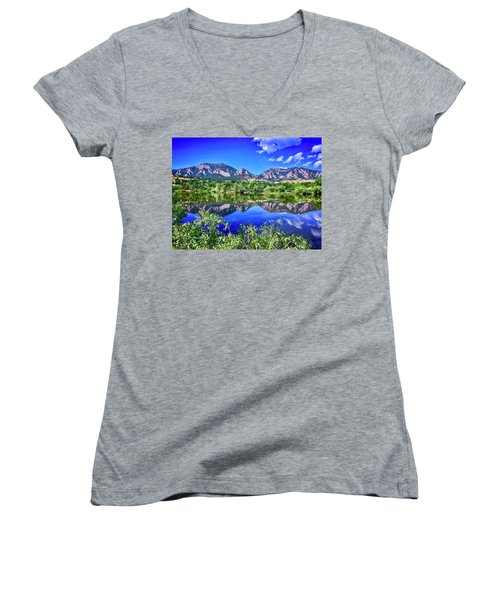 Women's V-Neck featuring the photograph Viele Lake 2 by Dan Miller