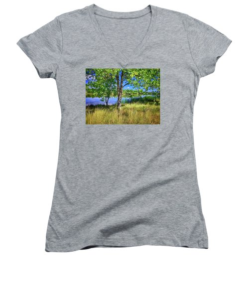 Women's V-Neck featuring the photograph Viele Lake 4 by Dan Miller