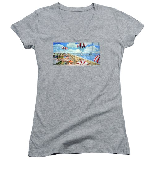 View From Parachute Jump Towel Version Women's V-Neck