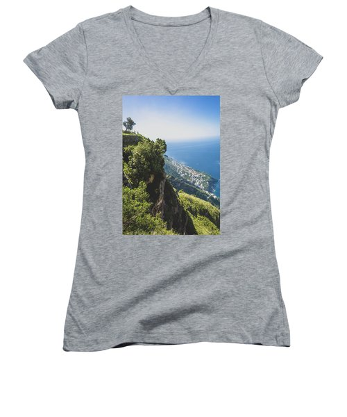 View Of Amalfi Italy From Path Of The Gods Women's V-Neck