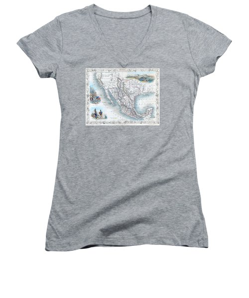 Vingage Map Of Texas, California And Mexico Women's V-Neck