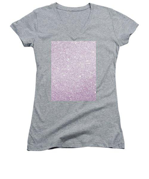 Violet Glitter Women's V-Neck