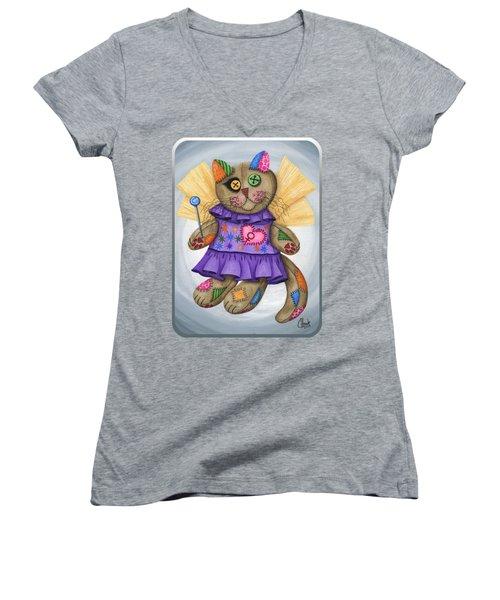 Voodoo Empress Fairy Cat Doll - Patchwork Cat Women's V-Neck