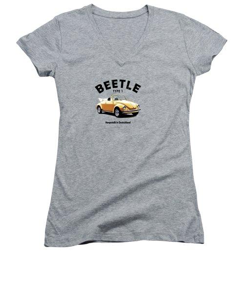 Vw Beetle 1972 Women's V-Neck