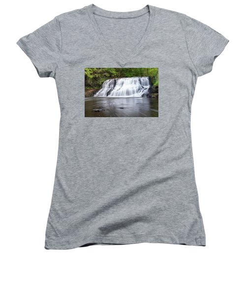 Wadsworth Falls In Middletown, Connecticut U.s.a.  Women's V-Neck