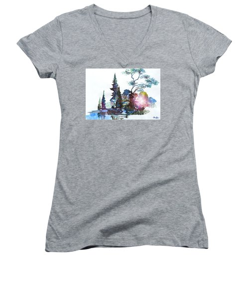 Watercolor Forest And Pond Women's V-Neck