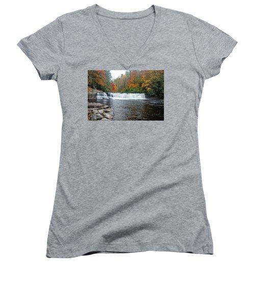 Waterfall In Autumn Women's V-Neck