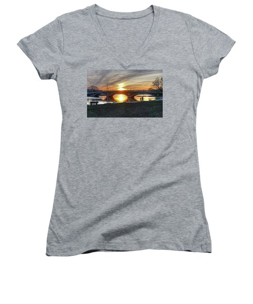 Weeks Bridge At Sunset Women's V-Neck