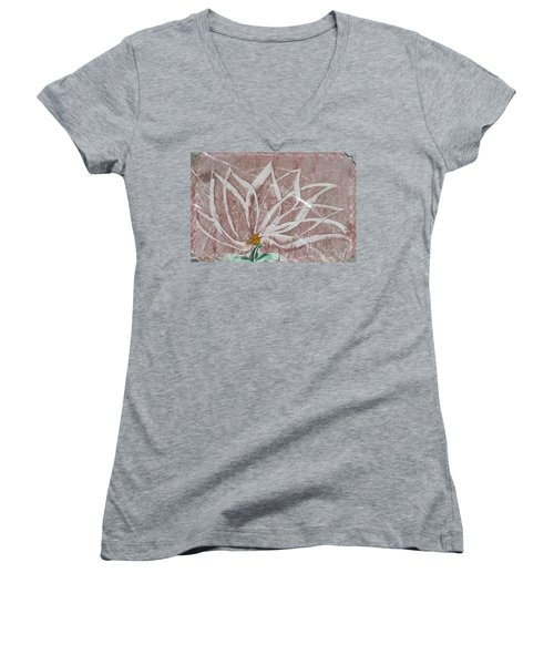 White Abstract Floral On Silverpastel Pink Women's V-Neck
