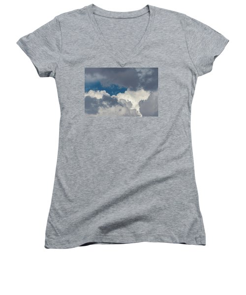 White And Gray Clouds Women's V-Neck