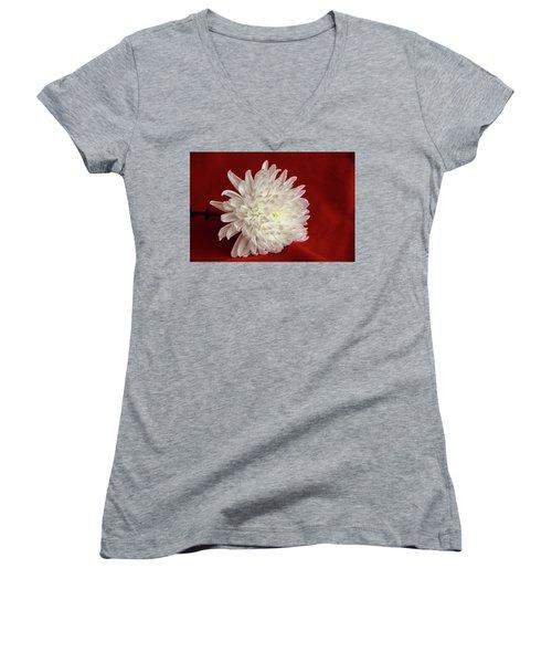 White Flower On Red-1 Women's V-Neck