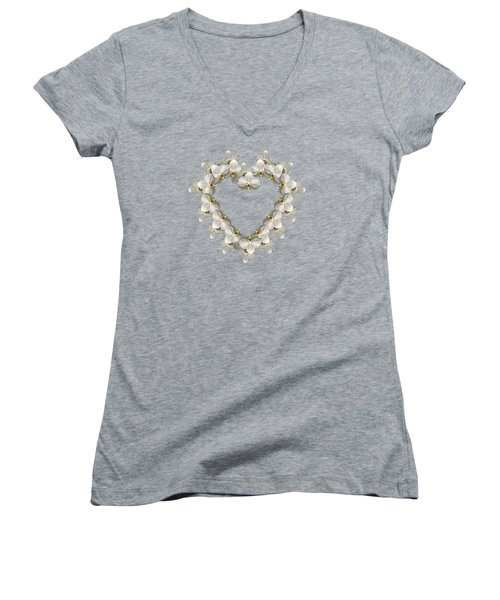 White Orchid Floral Heart Love And Romance Women's V-Neck