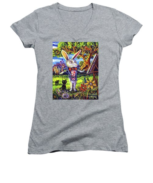 White Rabbit Alice In Wonderland Women's V-Neck