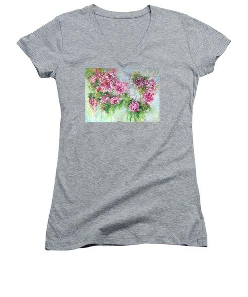 Wild Roses Women's V-Neck
