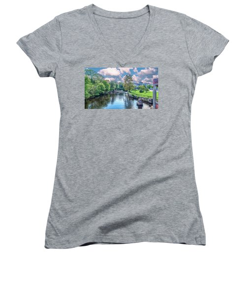 Willimantic River With Clouds Women's V-Neck
