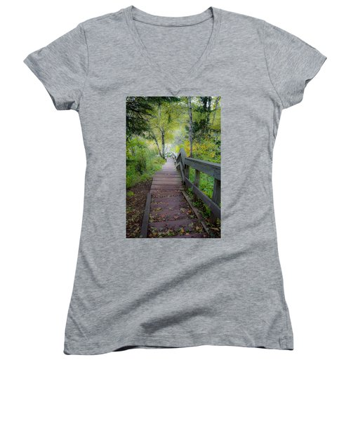 Winding Stairs In Autumn Women's V-Neck
