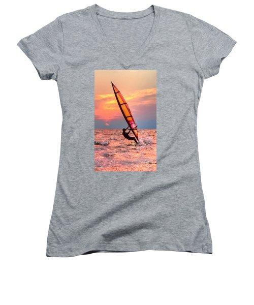 Windsurfing At Sunrise Women's V-Neck
