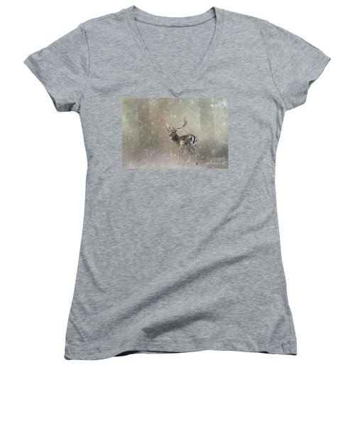 Winter In The Woods Women's V-Neck