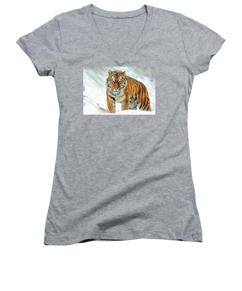 Women's V-Neck featuring the painting Winter Tiger by Harry Warrick