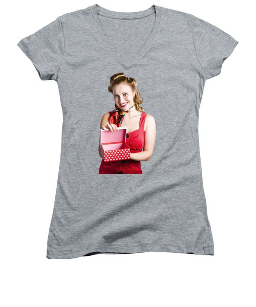 Woman Holding Gift Box Women's V-Neck (Athletic Fit)