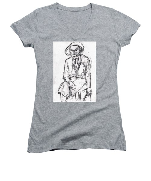 Woman In A Hat Drawing Women's V-Neck