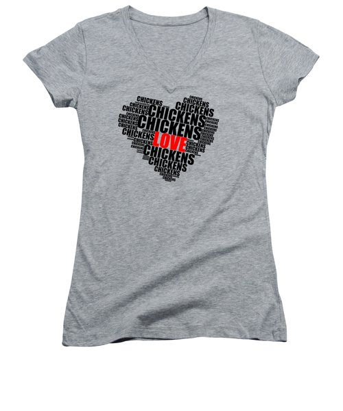 Wordcloud Love Chickens Black Women's V-Neck