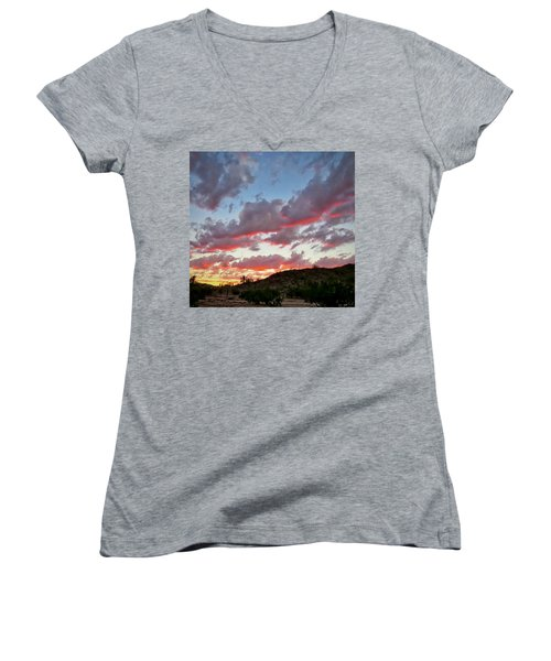 Women's V-Neck (Athletic Fit) featuring the photograph Y Cactus Sunset  11 by Judy Kennedy