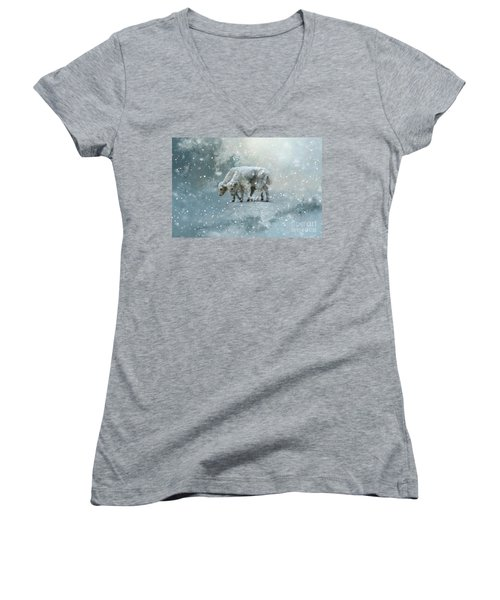Yaks Calves In A Snowstorm Women's V-Neck