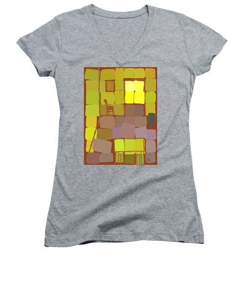 Women's V-Neck featuring the digital art Yellow Room by Attila Meszlenyi
