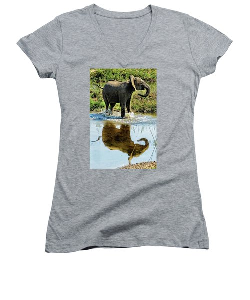 Young Elephant Playing In A Puddle Women's V-Neck