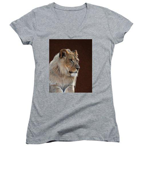 Young Male Lion Portrait Women's V-Neck