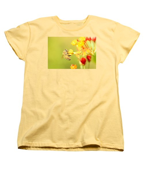 Women's T-Shirt (Standard Cut) featuring the photograph  Bee On Milkweed by Greg Allore