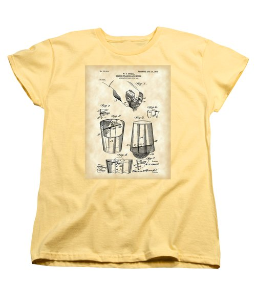 Cocktail Mixer And Strainer Patent 1902 - Vintage Women's T-Shirt (Standard Cut) by Stephen Younts