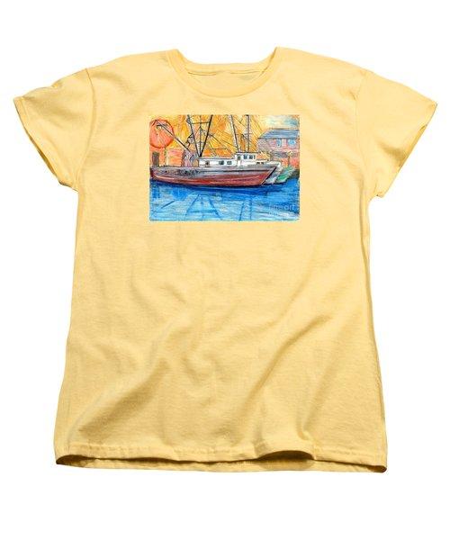 Women's T-Shirt (Standard Cut) featuring the drawing Fishing Trawler by Eric  Schiabor