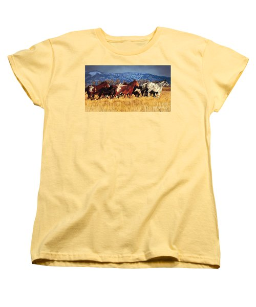 Women's T-Shirt (Standard Cut) featuring the painting Joe's Horses by Tim Gilliland