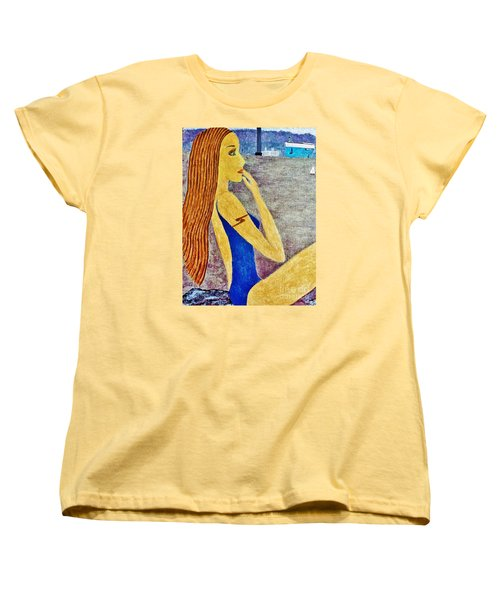 Women's T-Shirt (Standard Cut) featuring the painting Lady  by Jasna Gopic