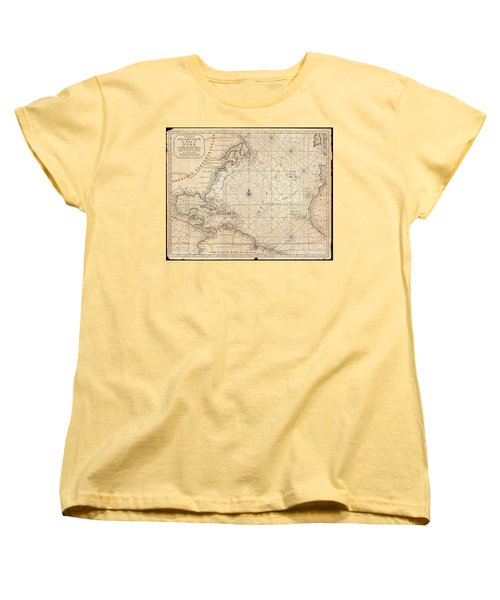 1683 Mortier Map Of North America The West Indies And The Atlantic Ocean  Women's T-Shirt (Standard Cut) by Paul Fearn