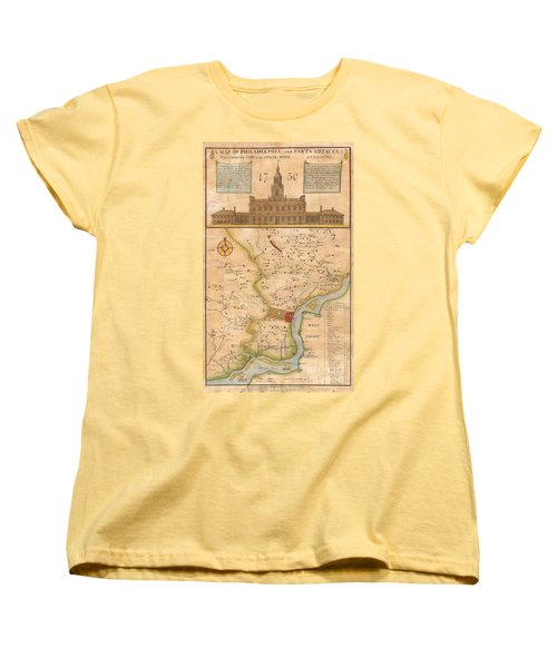 1752  Scull  Heap Map Of Philadelphia And Environs Women's T-Shirt (Standard Cut) by Paul Fearn