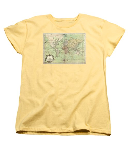 1778 Bellin Nautical Chart Or Map Of The World Women's T-Shirt (Standard Cut) by Paul Fearn