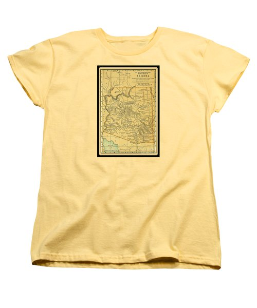 1891 Arizona Map Women's T-Shirt (Standard Cut) by Phil Cardamone