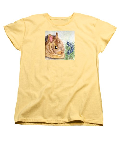 Women's T-Shirt (Standard Cut) featuring the painting A Baby Bunny by Angela Davies