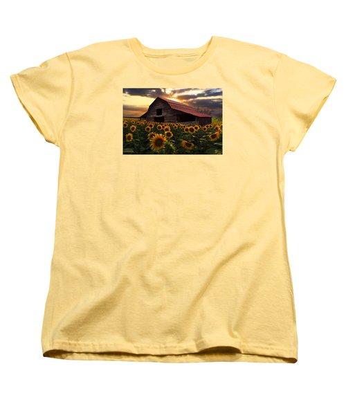 Sunflower Farm Women's T-Shirt (Standard Cut) by Debra and Dave Vanderlaan