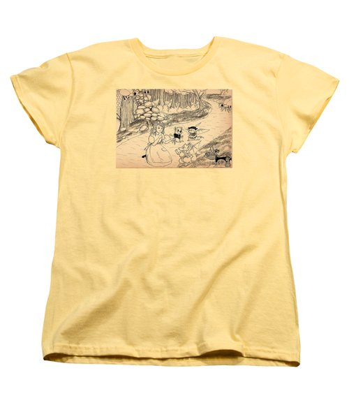 Women's T-Shirt (Standard Cut) featuring the drawing Tammy  Meets Cedric The Mongoose by Reynold Jay