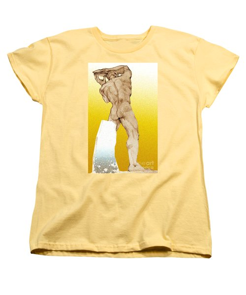 Women's T-Shirt (Standard Cut) featuring the drawing Olympic Athletics Discus Throw by Greta Corens