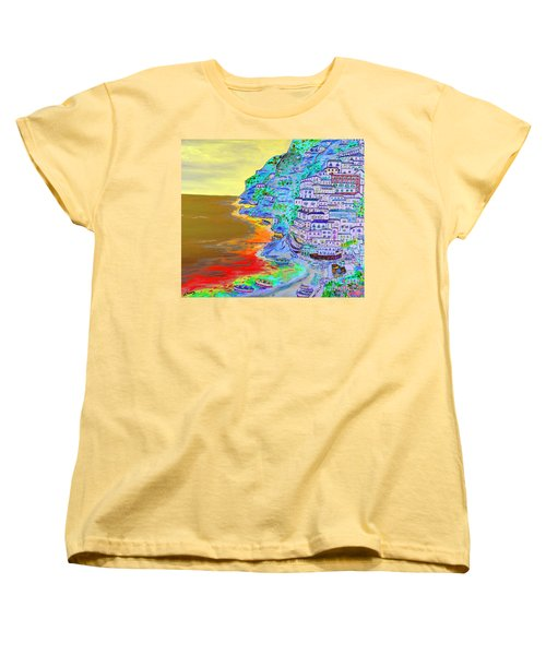 A Coastal View Of Positano Women's T-Shirt (Standard Cut) by Loredana Messina